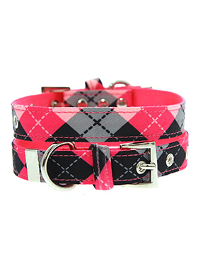 Pink Argyle Fabric Collar