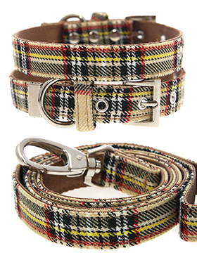Brown Tartan Collar & Lead Set