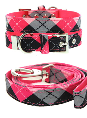 Pink Argyle Collar & Lead Set