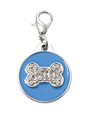 Blue Enamel / Diamante Bone Dog Collar Charm