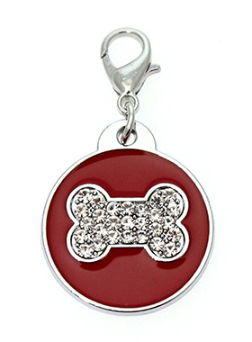 Red Enamel / Diamante Bone Dog Collar Charm