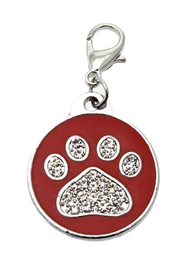 Red Enamel / Diamante Paw Dog Collar Charm