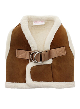Luxury Brown & Cream Faux Shearling Harness