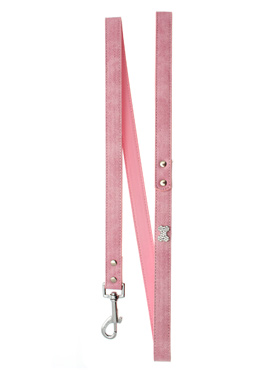 Pink Leather Diamante Lead