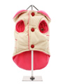 Cream / Pink Quilted & Hooded Bodywarmer