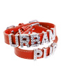 Red Leather Personalised Dog Collar (Diamante Letters)
