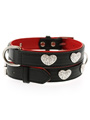 Red / Black Leather Diamante Heart Collar