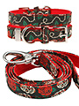 Skull & Roses Fabric Collar & Lead Set