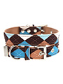 Brown & Blue Argyle Fabric Collar