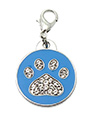 Blue Enamel / Diamante Paw Dog Collar Charm