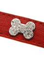 Red Leather Diamante Collar / Diamante Bone Charm & Lead Set