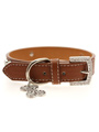 Brown Leather Diamante Collar & Diamante Bone Charm