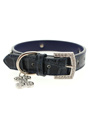 Blue Crocodile Leather Diamante Collar & Diamante Bone Charm