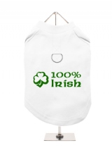 ''St. Patrick: 100% Irish'' Harness-Lined Dog T-Shirt