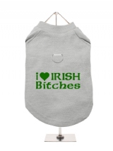 ''St. Patrick: I Love Irish Bitches'' Harness-Lined Dog T-Shirt